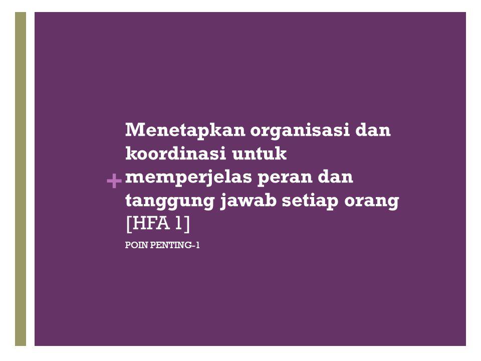 Menetapkan organisasi dan koordinasi untuk memperjelas peran dan tanggung jawab setiap orang [HFA 1]